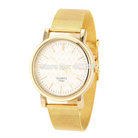 2014 New Fashion Women's Casual Watches Golden Mesh Full Steel Strap Dress Watches Women Clocks