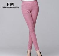 Plaid Check Printed Spandex Leggings Women Winter 2014 Pant Female Slim Pencil Trousers Skinny Pants Big Size 3XL AW14P020