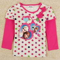 Frozen girl t shirt Elsa & Anna baby t shirt for girls lovely dot long sleeves girl's clothing F5313