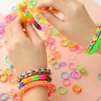 2014   Korean fashion big bag rainbow colored rubber band rope hand woven rope bracelets handmade DIY lovers