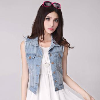 Roupas не Femininas не Atacado женщины рабочая одежда жан джинсовой жилет мода рукавов кардиганы короткие винтаж лето жилет 6073