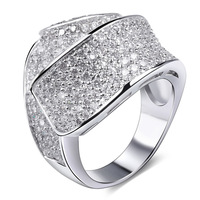 Fashion Women's Trendy Platinum Plated Cubic Zirconia Stones Crystal Flower Rings For Women