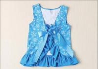 New 2014 Frozen Elastic Close-Fitting Girls Swimwear Elsa And Anna 5pcs Swimsuit Girl Print Dress Brand Swimsuit For Girls