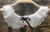 Ubiquitous1 vivi sweet chiffon multi-layer pearl flower false collar women's