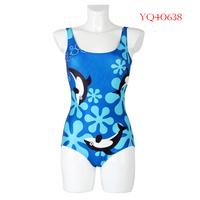 Hot 2014 Women Swimwear One Piece Swimsuit triangl Dress Dolphin Pattern Digital Printing Fitness Women Beach Wear YQ40638