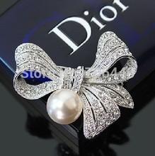 2 pulgadas plateado plata del diseño con estilo broche arco grande con Rhinestones claros y la perla de marfil(China (Mainland))