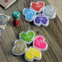 Free shipping Mini Heart Shape inkpad/Ink stamp pad Colorful Cartoon Ink pad/color ink pad(24pcs/lot)