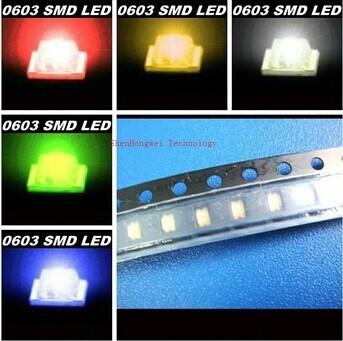 Free Shipping!5Values*100pcs =500pcs/PACK New 0603 Ultra Bright SMD Red/Green/Blue/White/Yellow LED kit(China (Mainland))