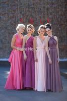 Hot Sale Fashion Custom Made vestido de festa Sleeveless Pleated A-Line Formal Long Bridesmaid Dresses Four Styles