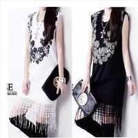 2014 Summer retro women's sequined o-neck tank dress fashion printed sleeveless one-piece dress black/white casual tassel 1PC