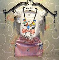 new arrival kids summer clothing girls sleeveless cartoon t-shirt + striped skirt suit children set 2 color for 2-6 age