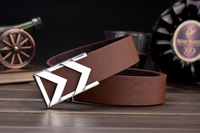 Striped M letter Design Brand Luxury Belt for men Male PU Leather Metal Smooth Buckle Fashion Formal Freeshipping Gift