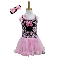 Girl Black Light Pink Damask Minnie Mouse Pettiskirt Tutu Pettidress Party Dress with Headband 1-4Y