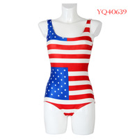 Hot Summer 2014 Women Swimwear Fashion One Piece Swimsuit triangl Dress US Flag Digital Printing Swimming Suit For Women YQ40639