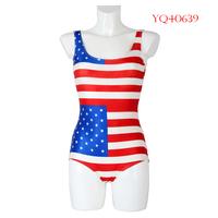 Hot Summer 2014 Women Swimwear Fashion One Piece Swimsuit triangl Dress US Flag Digital Printing Swimming Suit For Women YQ40639