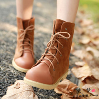 New 2014 Women Motorcycle Autumn Winter Boots Ankle Boots Flat Heel Platform Martin Boots Suede Flock Nubuck Leather Booty