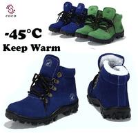 -45C Super warm 100% Genuine leather children's boots snow boots Warm Plush Fur kids boots children shoes winter boots