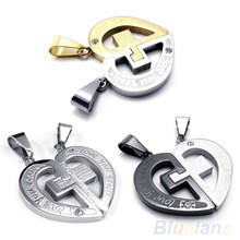 Mens Gold Stainless Steel Love Cross Pendant & Necklace  0IV9