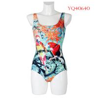 2014 Women Swimwear One Piece Swimsuit Youth Fashion Beach Wear Parrot Digital Printing Swimming Suit For Women YQ40640