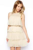 summer girl dress new 2014 novelty dresses Sexy Sleeveless O-Neck Apricot Cascading Ruffles Tulle Skater Party Dress LC21536