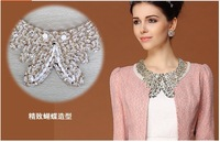 Crystal pearl false collar butterfly necklace female gold sequin the collar lq-062