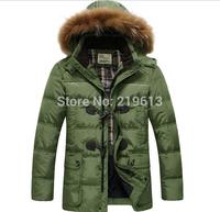 2014 new men's down coat fashion mediu-long design down coats with raccoon fur collar man winter coat down padded jackets M-XXXL