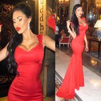 Olesya Malinskaya Cap Sleeve Long Mermaid Evening Dresses Red Satin Vestidos