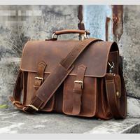 "Vintage Crazy Horse Leather Pure Handmade  Men Handbags Genuine Leather Messenger Bags Fashion men's leather 14"" laptop bag"