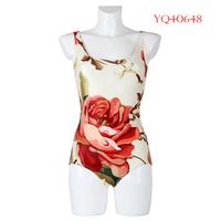 New Summer 2014 Fashion Women Swimwear Sexy One Piece Swimsuit Female Beach Dress Red Flower Digital Printing YQ40648