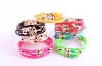 Trendy Leather Owl Bracelet Candy Color Simple Design Bracelet Wholesale