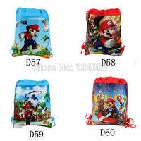 1Piece Mario Kids cartoon printing Drawstring school shoulder bags,school backpacks,mochila kids,book bag