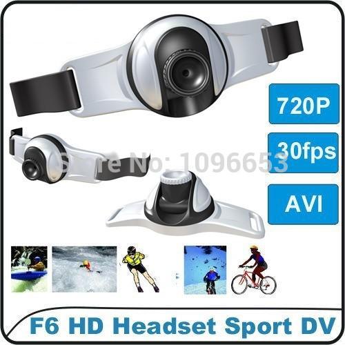 New 1280*720P HD outdoors headset sports Video Camera DV with flashlight 8GB memory DVR Camera DV F6 action camera(China (Mainland))