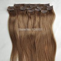 Light Brown 8#  Hair Extension Clip in 100% Human Hair 7pcs Set 70g 20'' Full Head Clip in Human Hair Extensions