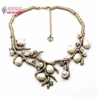 2014 christmas gift fashion antique metal resin pearl branches statement women chunky collar pendant & necklaces bijoux sale