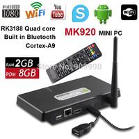 NEW  MK920 Mini PC RK3188-T Quad Core 2GB+8GB Android TV Box Android 4.2.2 TV Set Top Box External Antenna Converter Box