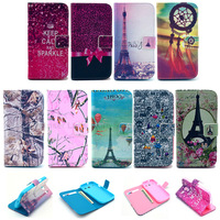 Floral Eiffel Tower Style Cover Soft TPU Flip leather Case For Samsung Galaxy Core i8262 Wallet Stand with card holder