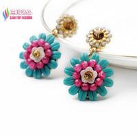 2014 christmas gift fashion sweet blue resin pink beaded flower dangle earrings for women brincos bijoux wholesale
