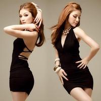 2014 New Summer backless Sexy dress Women Bodycon clubwear black Lady mini dress night club dresses