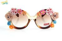 2014 vintage 6 flower sunglasses women brand designer lenses fashion UV protection optical Aviator round eye sun glasses 8243