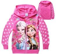 Free Shipping,Elsa & Anna Frozen Kids Hoodies Girl's Cotton Cardigan Sweatshirts Long Sleeve Autumn Girl's Zipper Jacket Coat