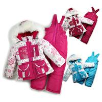 RC0116 Free shipping children winter clothing set baby girl ski suit kids windproof sets fur jackets+bib pants+wool vest retail