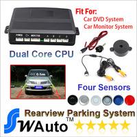 Dual Core Car Video Parking Sensor System , Auto Reversing Detector, Digital Display , Step-up Alarm for Car DVD Minotor