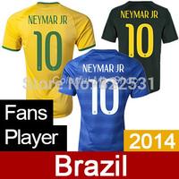 Brasil Jersey World Cup 2014 Brazil Jersey NEYMAR JR Top Thai Quality Brazil Soccer 2014 Home Away Football shirts