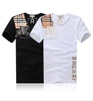 High Quality New 2014 Men's Brand Short Sleeve O-neck Embroidery Cotton T-shirts Men Fashion T Shirt Shirts Larger Size XXXL.4XL