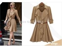 2014 European and American Spring and Autumn new lapel waist Sleeve Chiffon Dress