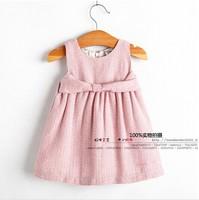 Hot 2014 new Spring&autumn infant clothing baby girl formal pink sleeveless dress kids girl tutu dress princess party bow dress