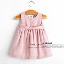 Hot 2014 new Spring&autumn infant clothing baby girl formal pink sleeveless dress kids girl tutu dress princess party bow dress(China (Mainland))