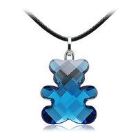 Fashion jewelry  teddy bear Crystal necklace female short design pendant birthday gift sweater chain