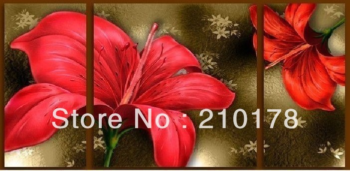 FL3-185 Free shipping mediterranean oil paintings on canvas modern red Flower oil painting original directly from artis(China (Mainland))