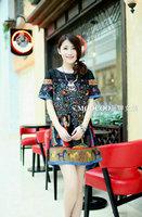Full Size M,L,XL,2XL,3XL,4XL,5XL,6XL Women Vintage Print Short Sleeve Dress with Denim Patchwork Free Shipping 0036